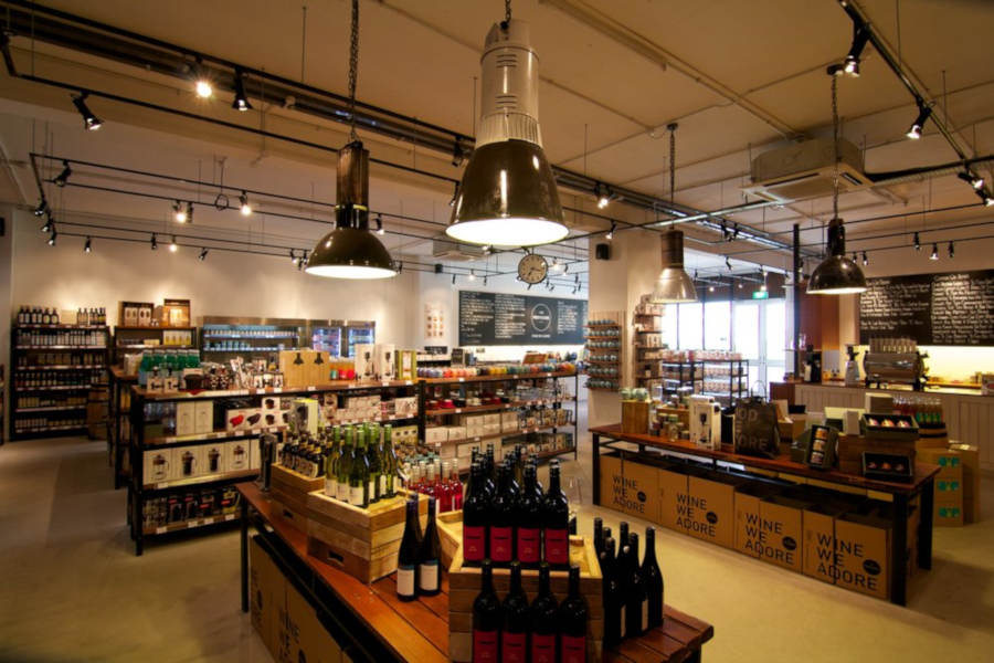 Spacious and modern industrial warehouse styled store with an extensive collection of gourmet food, wine, beer and spirits.